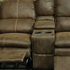 Baseball Leather Sofa Flip Open Kids Brown Sectional With Recliners Russet