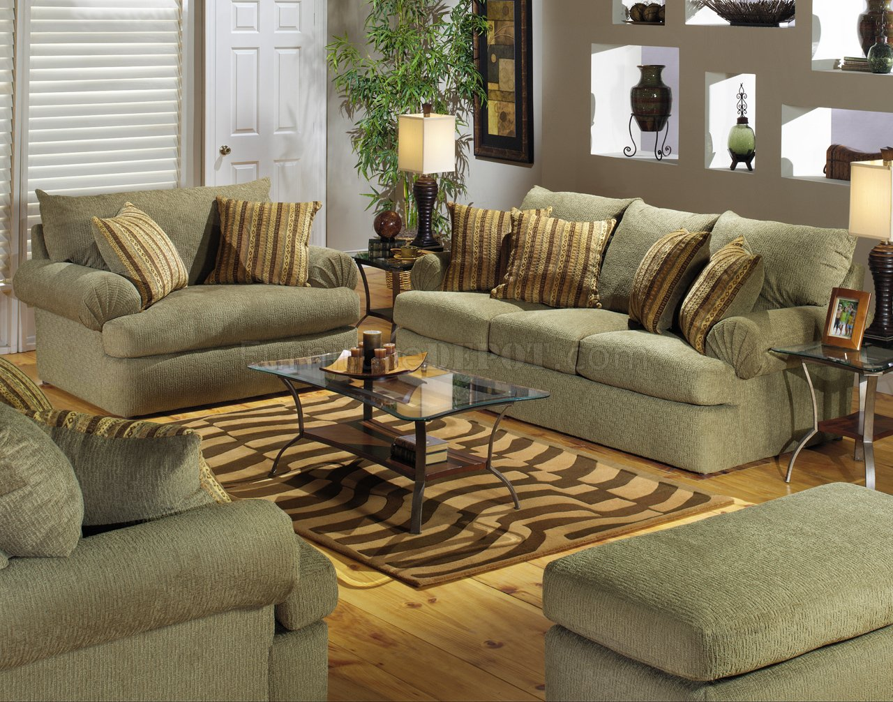 Olive Fabric Modern Couch  Loveseat Set wOptional Items