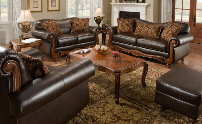 Brown Bonded Leather Traditional Sofa Loveseat Set W Options