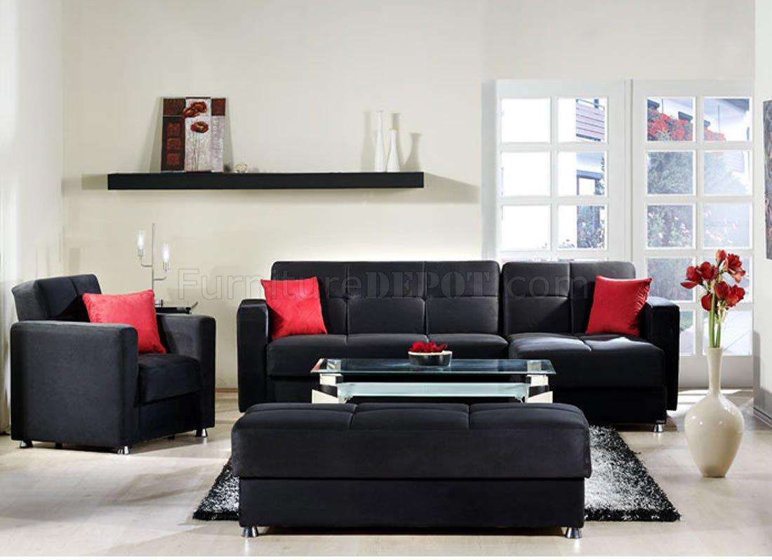 black microfiber sofa set chaise sectional sleeper elegant rainbow storage in by sunset