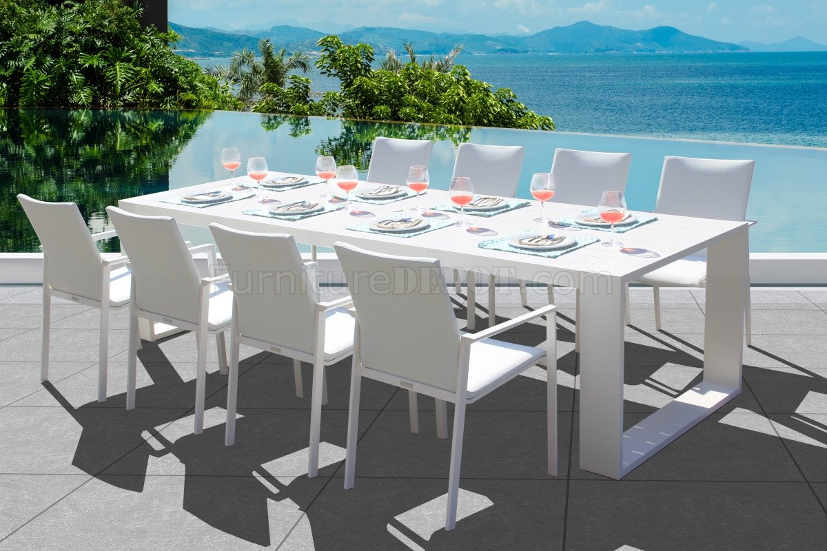 ritz outdoor dining set 9pc in white w