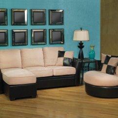 Cream Colored Microfiber Sofa Open Two Tone And Pu Modern Reversible W