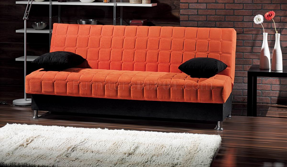 orange and black sofa bed argos 2 seater brown leather rio fabric convertible w accents