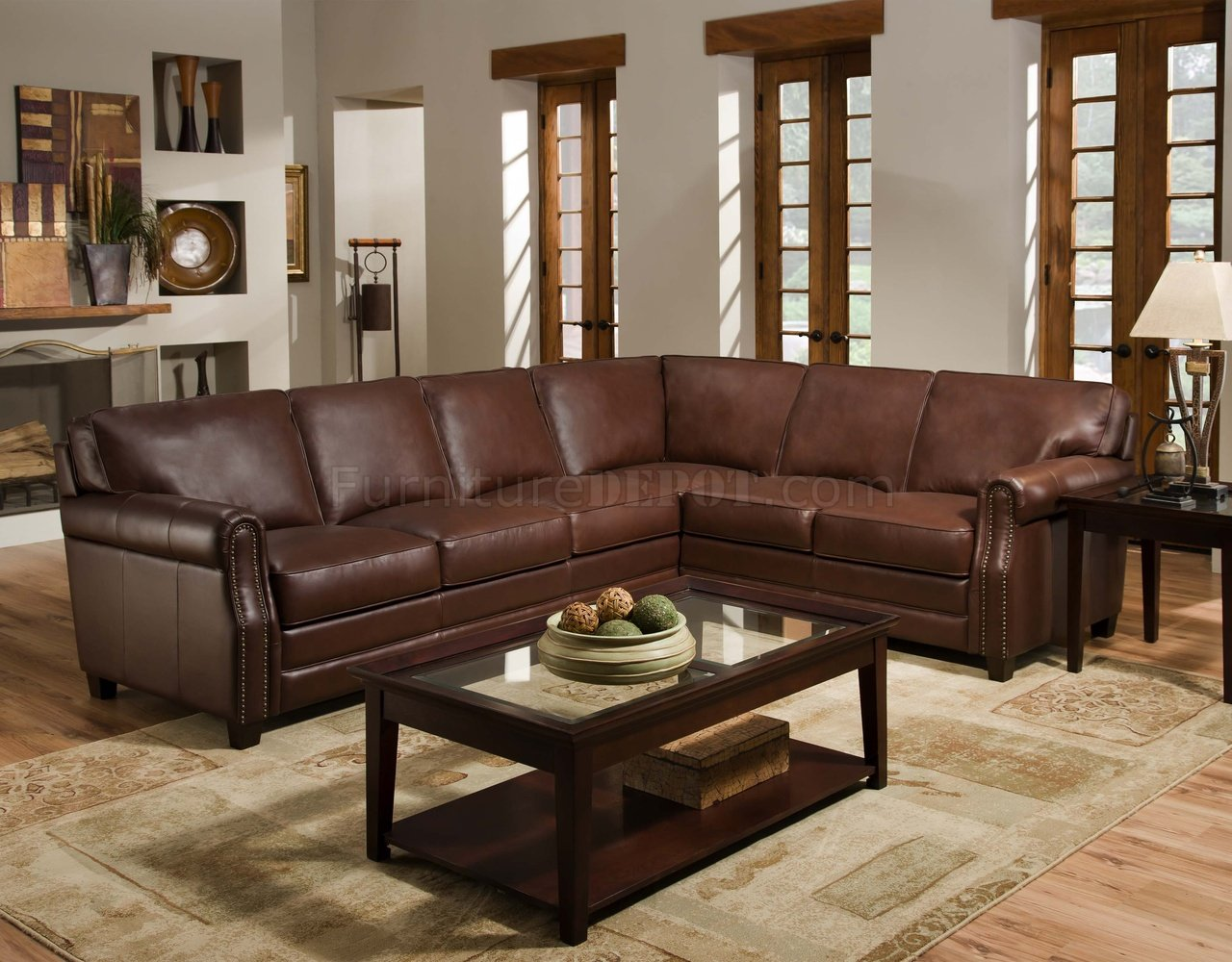 traditional leather sectional sofas sofa mart brownsville tx cocoa brown top grain italian