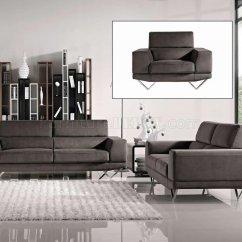 Modern Fabric Sofa Set Sleeper Clearance Grey 3pc Loveseat And Chair W Metal Legs