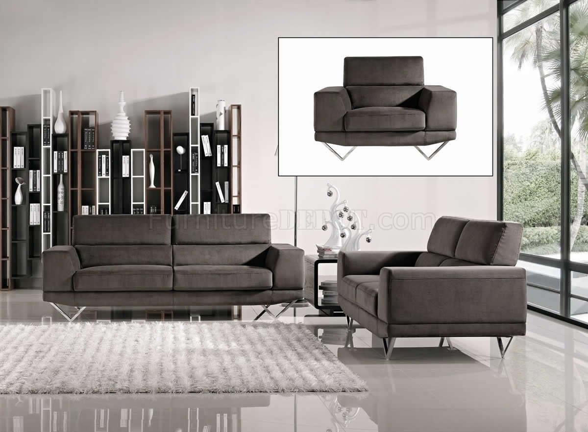 modern fabric sofa set dream works grey 3pc loveseat and chair w metal legs