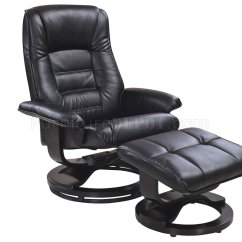 Modern Black Leather Recliner Chair Office With Armrest Savuage Bonded W Ottoman