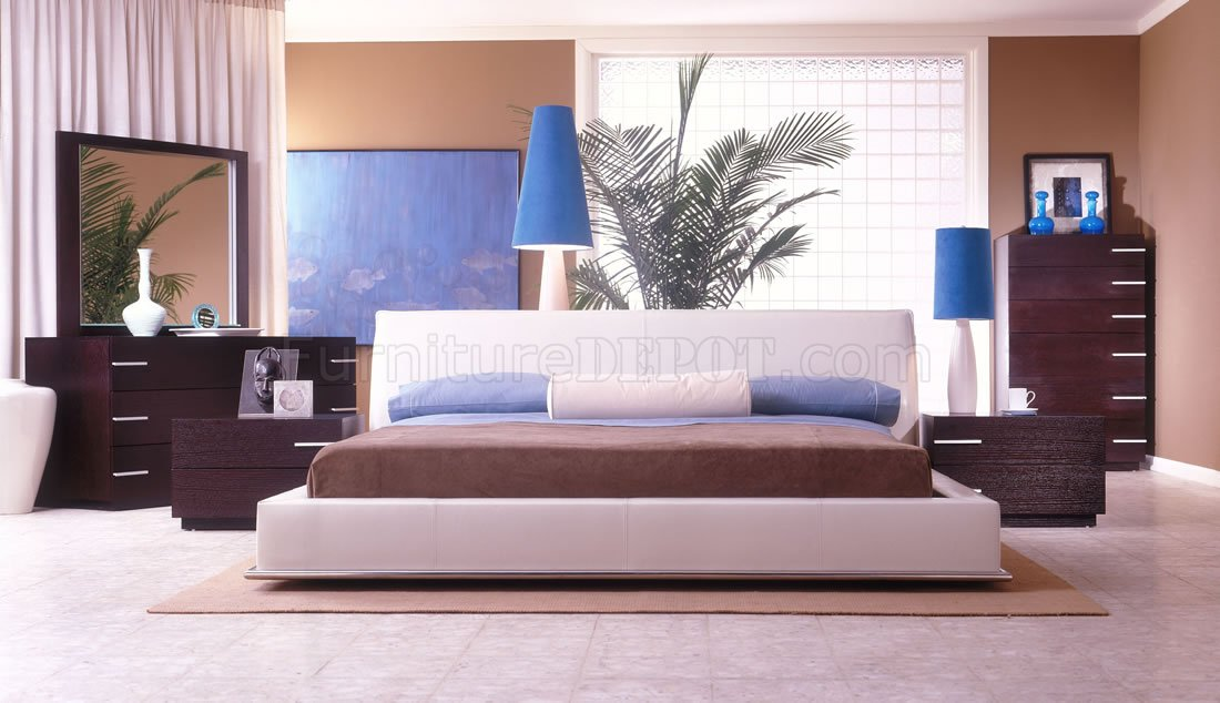 Ivory Color Leather Upholstery Contemporary Bedroom Set