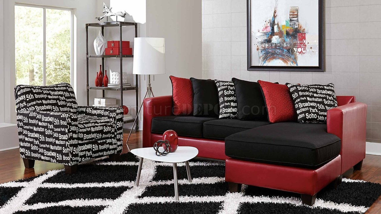 3006 Sectional Sofa in Red Bicast  Black Microfiber