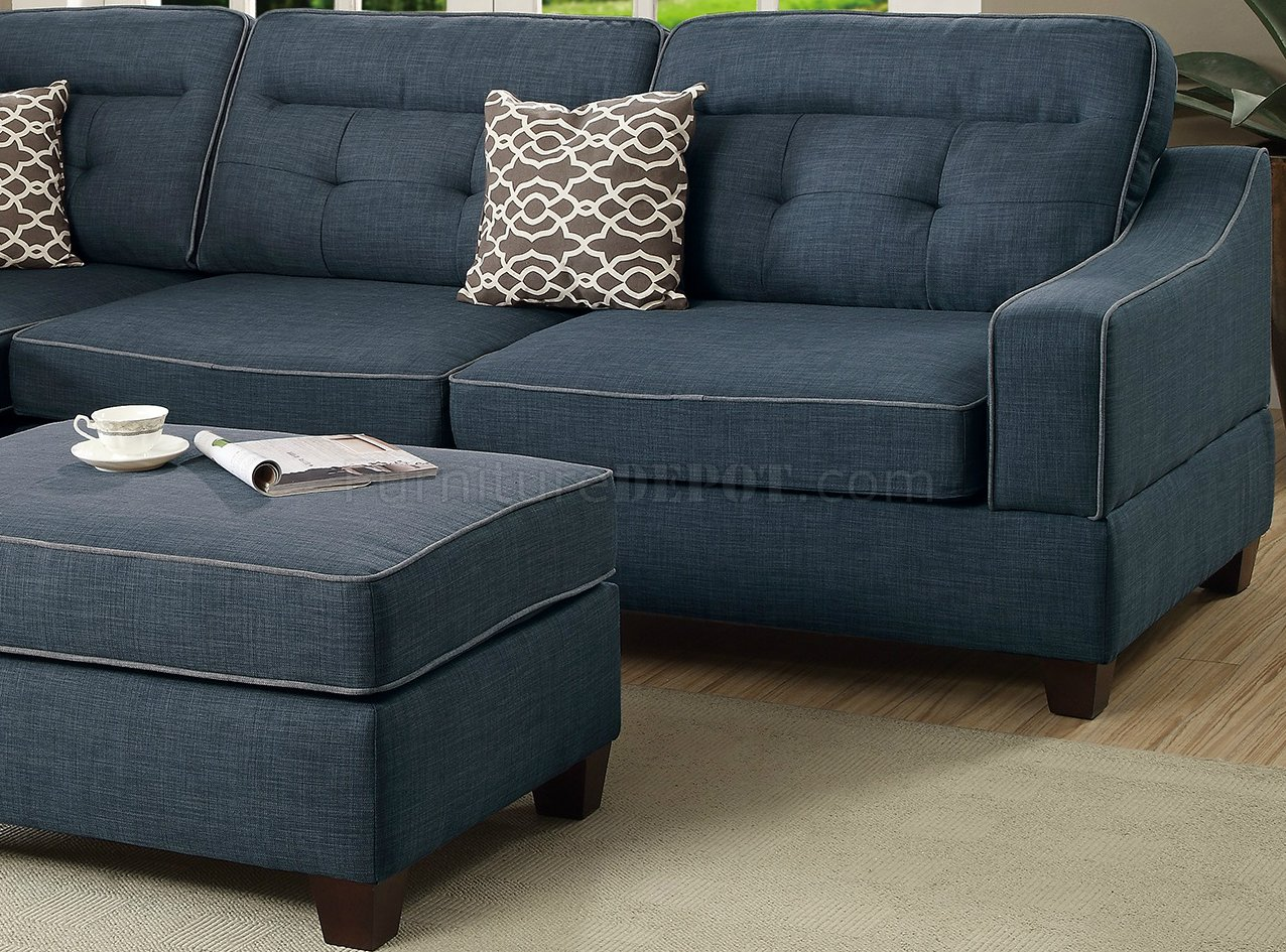 F6523 Sectional Sofa  Ottoman Set in Dark Blue Fabric by Boss