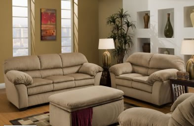 Beige Microfiber Sofa  Loveseat Set wOptional Chair