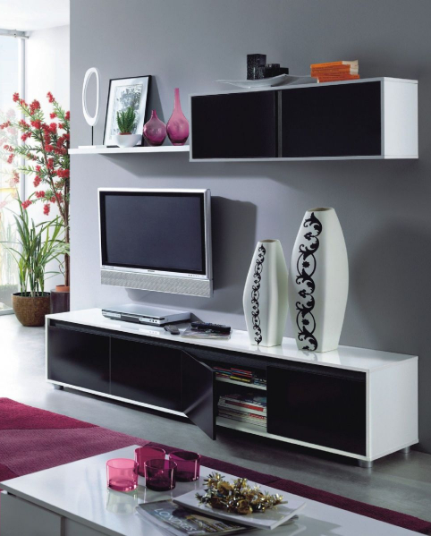 Alida Black and White Gloss TV Cabinet With Wall Unit