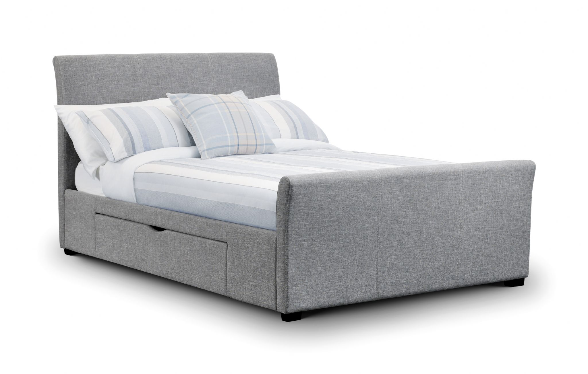 Coru A Light Grey Fabric King Size Bed With 2 Drawers Jb136