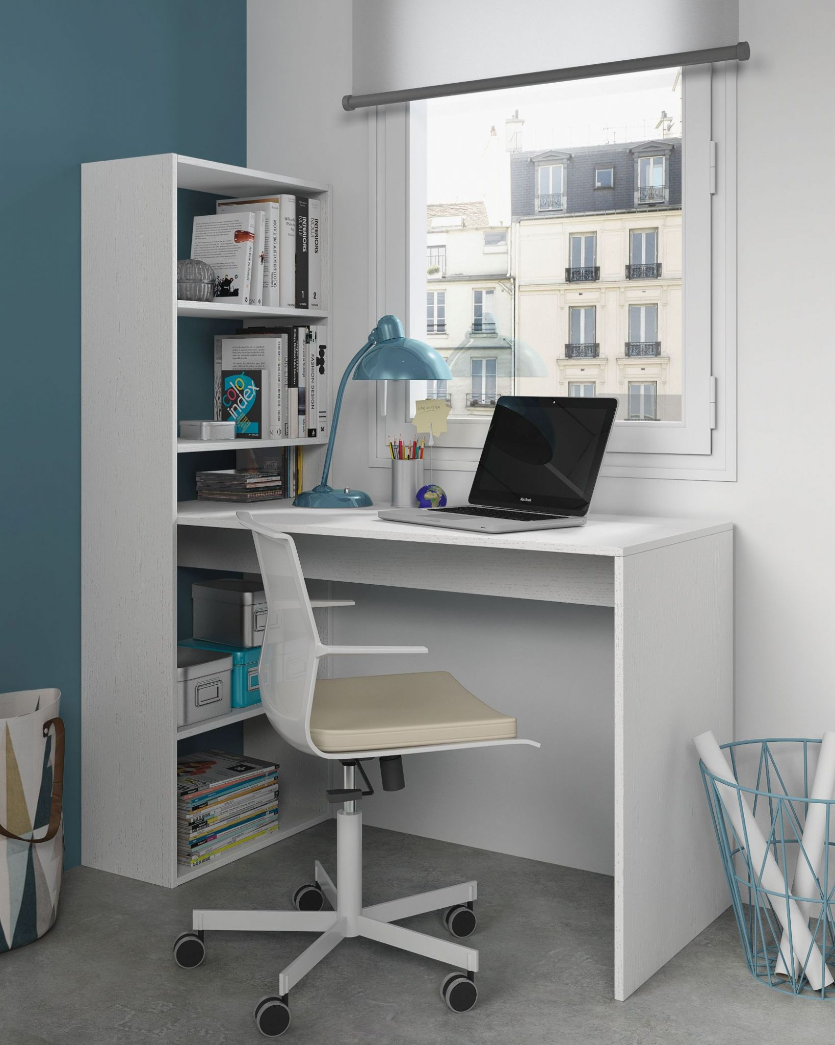 Duplex Floating Desk with Bookshelf in White by