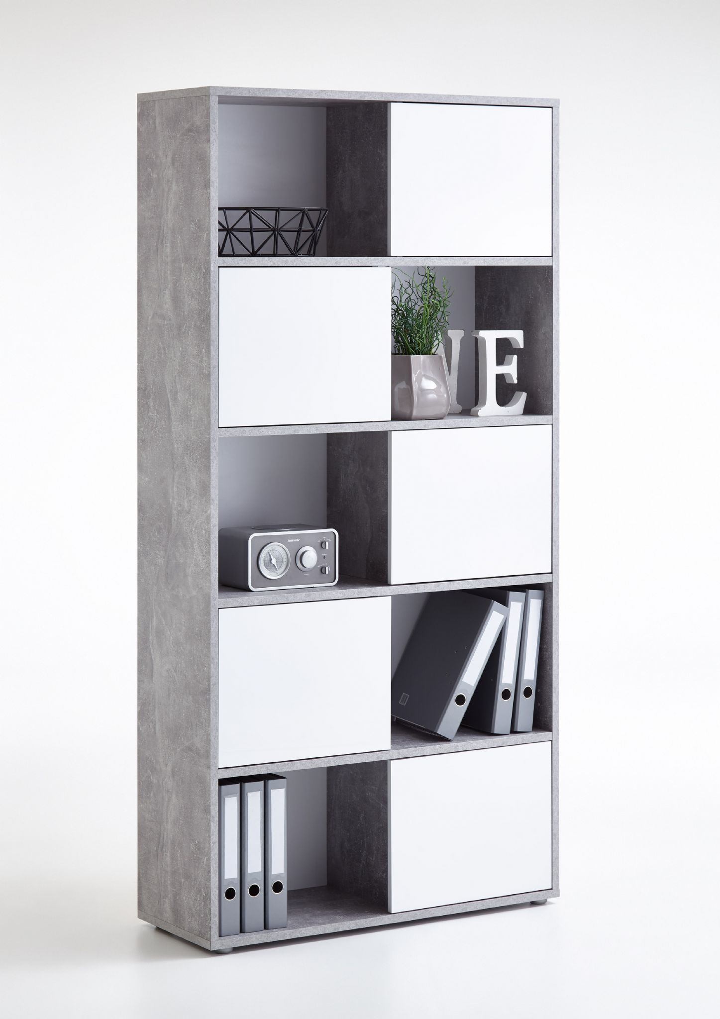 Luna Large Concrete Grey and White Tall Bookcase