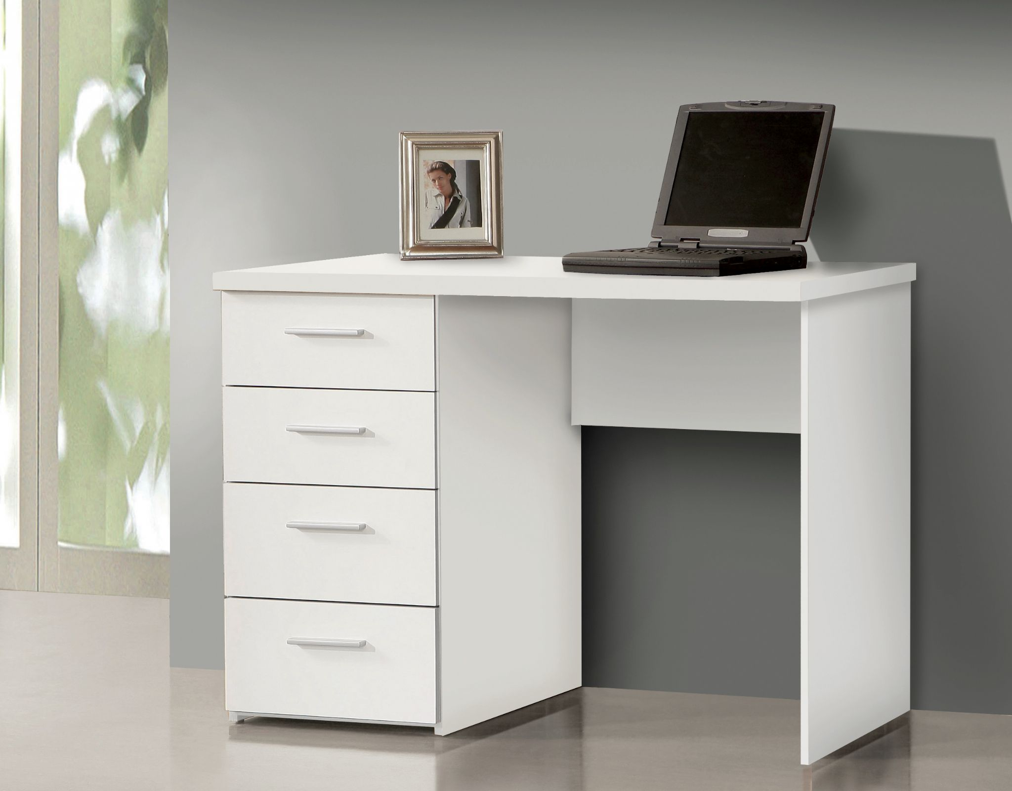Pulton Simple Small White Desk with Drawers by