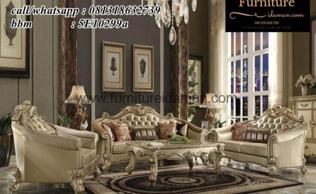 Set Sofa Tamu Ganesha White Mewah Ksi 58 Furniture