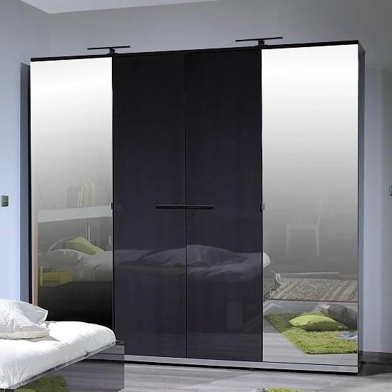 Sinatra Grey High Gloss Finish 4 Door Wardrobe With 2