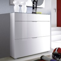 California High Gloss Shoe Cabinet In White With Grey Gloss
