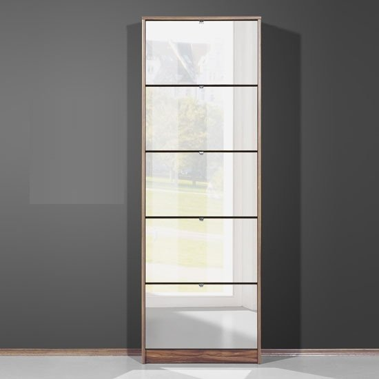 Tall Mirrored Shoe Cabinet In Walnut With Five Drawers 6043