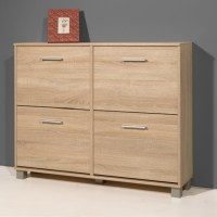 Modern Shoe Storage Cabinet In Sonoma Oak With 4 Doors ...