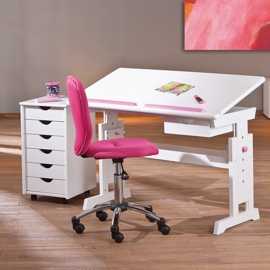 Berito Children Computer Desk In White With Pink And Blue