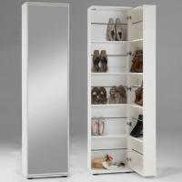 Wooden Shoe Storage Cabinet With Mirror In White 4961