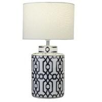 Ceramic Dark Blue brown And White Table Lamp 33974