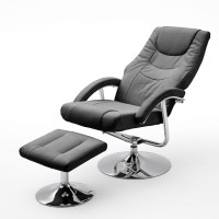 Florida Swivel Recliner Chair Leather In Black With Foot