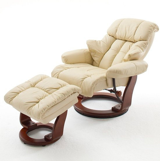 Calgary Swivel Relaxer Chair Leather With Foot Stool In