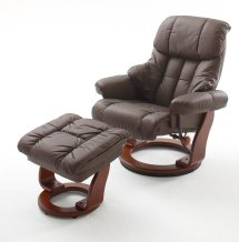 In Brown Calgary Swivel Relaxer Chair Leather With Foot