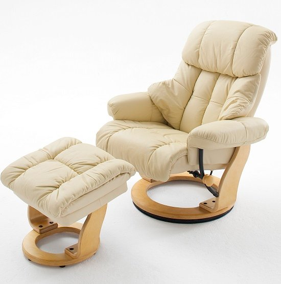Calgary Swivel Relaxer Chair Leather With Foot Stool In Brow