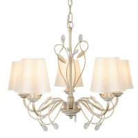 Fleur Brushed Gold And Cream Pendant Lamp In White Shades