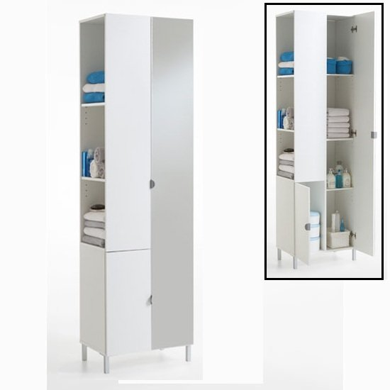 Tarragona 2 Tall Bathroom Cabinet In White With Mirrored