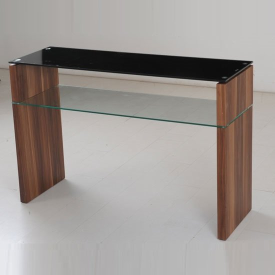 Atlanta Black Glass Console Table With Underself And Walnut