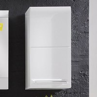 Bora Wall Mounted Storage Cabinet In White With High Gloss