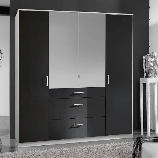 Alton Mirror Wardrobe In Gloss Black Alpine White With 4