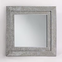 Cooper Decorative Wall Mirror Square In Mosaic Silver Frame