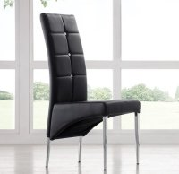 Vesta Studded Faux Leather Dining Room Chair in Black 21166