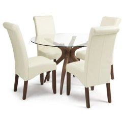 Cream Office Chair Faux Leather Pedicure Spa Jenson Glass Dining Table And 4 Ameera In Pu