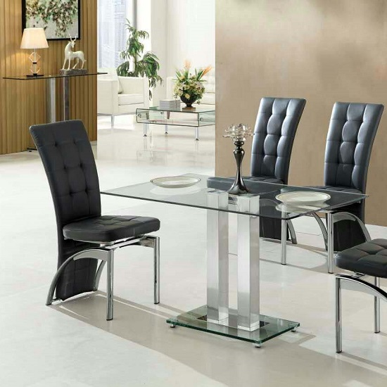 Jet Small Dining Table Rectangular In Clear Glass 189 95 Go Furniture Co Uk