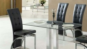 Jet Small Dining Table Rectangular In Clear Glass 27422