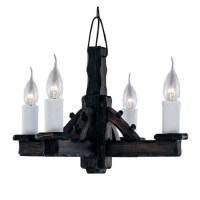 Jacobean Style 4 Lamp Rustic Wood Pendant With Chain