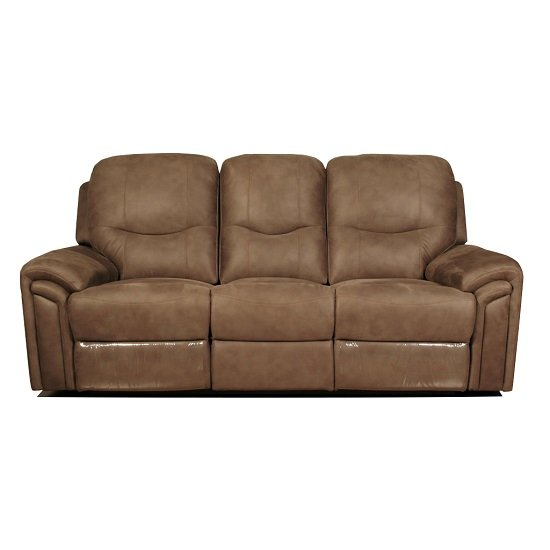 Medina Recliner 3 Seater Sofa In Light Brown Leather Look