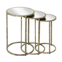 Aachen Mirrored Top Nesting Tables In Metal Frame 27403