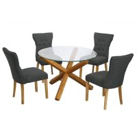Optro Round Glass Dining Table And 4 Naples Grey Dining