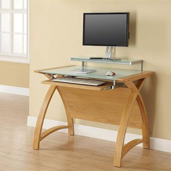Cohen Curve Computer Desk Small In Milk White Glass Top And
