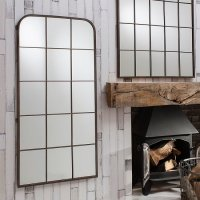 Rickard Wall Mirror In Rustic Metal With Window Pane Design
