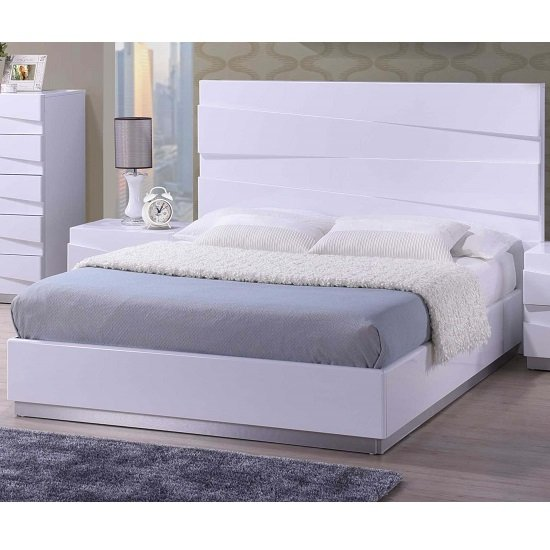 Stirling Double Bed In White High Gloss 1