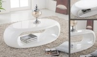 Straas Curved High Gloss Coffee Table In White - Buy High ...